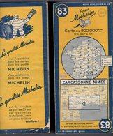 Carte Géographique MICHELIN - N° 083 CARCASSONNE - NIMES 1951 - Cartes Routières