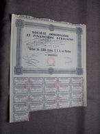 Soc. IMMO Et FINANCE AFRICAINE : Action De 2.000 Francs C.F.A Au Porteur : N° 003.705 ( Voir Photo ) - Afrika