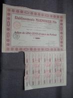 Ets. MARMONIER Fils : Action De 500 Francs Au Porteur : N° 4288 ( Voir Photo ) - Aandelen