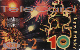 Namibia Chip N$ 20 + 2, 10 Happy Birthday, Used - Namibie