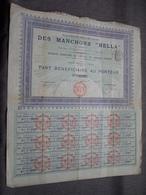 """Soc. Française DES MANCHONS """" HELLA """" Part Bénéficiaire Au Porteur : N° 0127 ( Voir Photo ) - Actions & Titres"""