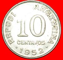 + SAN MARTIN (1778-1850): ARGENTINA ★ 10 CENTAVOS 1952 UNCOMMON! LOW START ★ NO RESERVE! - Argentine