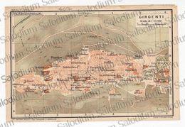 1910 - GIRGENTI AGRIGENTO   - SICILIA  - Mappa Cartina - Mappe