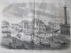 Gravure 1867 Exposition Universelle De PARIS  La Marine Francaise   BERGE DE LA SEINE    Pres Pont Iena - Oude Documenten