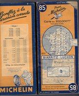 Carte Géographique MICHELIN - N° 085 BIARRITZ - LUCHON 1948 - Cartes Routières