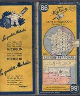 Carte Géographique MICHELIN - N° 086 LUCHON / PERPIGNAN - 1951 - Cartes Routières