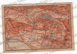 1910 - GIRGENTI AGRIGENTO PORTO EMPEDOCLE   - SICILIA  - Mappa Cartina - Mappe