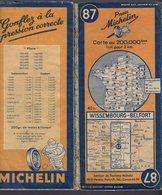 Carte Géographique MICHELIN - N° 087 WISSEMBOURG - BELFORT 1948 - Cartes Routières