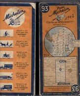 Carte Géographique MICHELIN - N° 093 LYON - AVIGNON 1942 - Cartes Routières