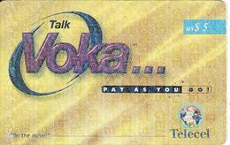 Zambia, Voka $5, Telecel, Used - Sambia
