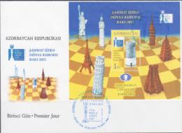 CHESS - AZERBIJAN - 2015 - BAKU CHESS S/SHEET ON ILLUSTRATED FDC - Chess