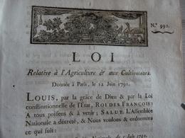 Révolution Loi Relative à L'agriculture Et Aux Agriculteurs 05/06/1791 - Décrets & Lois