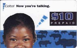 Zambia, Celtel Prepaid $10, Girl, Rhino, Expiry Date: 11/2002, Used - Zambie