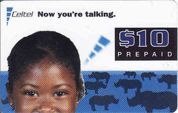 Zambia, Celtel Prepaid $10, Girl, Rhino, Expiry Date: 11/2002, Used - Zambia