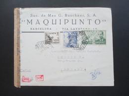 Spanien 1943 Luftpostbrief Barcelona - Berlin Mit Spanischer Zensur Und OKW Zensur Censura Barcelona Mehrfachzensur - 1931-50 Briefe U. Dokumente