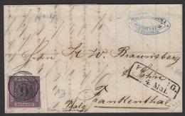 BADE Pli Avec 9 Kreuzer Noir/rose Foncé Oblt Cercle + Chiffre 43+ CàD Linéaire Noire De FREIBURG 1860 > FRANKENTHAL - Bade