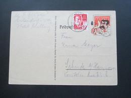 2. WK Spottkarte Stalin / Feldpostkarte Verwendet In Der Französischen Zone 1948 Mit Zusatzfrankatur Wert Keinen Pfennig - Zona Francesa