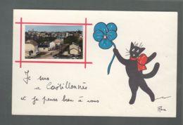 CP (47) Je Suis à Castillonnès Et Je Pense Bien à Vous - Petite Photo Collée Sur Une Carte Dessinée - Chat Noir - Other Municipalities