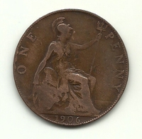 1906 - Gran Bretagna 1 Penny - 1902-1971 : Monete Post-Vittoriane