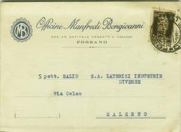 FOSSANO ( CUNEO ) OFFICINE MANFREDI BONGIOVANNI - CARTOLINA PUBBLICITARIA  - PERFIN - 1942 (3628) - Cuneo