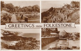 AS85 Greetings From Folkestone - Multiview RPPC - Folkestone