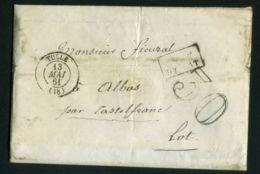 ENVELOPPE  DE  TULLE  CAD  DU  13  MAI  1861  POUR  ALBAS . - Marcofilie (Brieven)