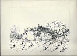 Art & Antiquités > Tableaux Mas En Provence Veritable Dessin  Encre Original   De Bernard Le Beguec - Dessins