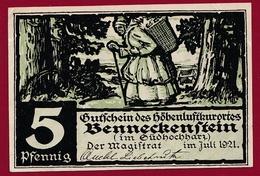 Allemagne 1 Notgeld  5 Pfenning  Stadt Benneckenstein  (RARE) Dans L 'état N °4617 - Collections