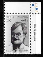 Finland 2003 President Tarja Halonen 60th Birthday MNH - Finland