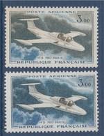 = Poste Aérienne Morane Saulnier 760 Paris 3.00F N°PA39 Et PA39a Variation De Couleur - Poste Aérienne
