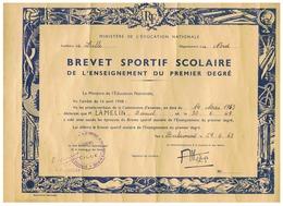 BREVET SPORTIF SCOLAIRE ENSEIGNEMENT PREMIER DEGRES à BERLAIMONT (NORD) 1963 - Diplômes & Bulletins Scolaires