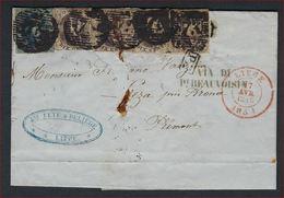Brief Verzonden 1854 Naar LEZA / ARONA / PIEMONTE / ITALIE Met Mixed Frankering Medaillon 10 Cent En 20 Cent ! LOT 175 - Belgium
