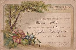 St Marys School Folkestone Kent Victorian Flowers 1889 Attendance Card - Historical Documents