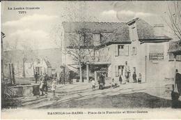 Lozere, Bagnols Les Bains : Place De La Fontaine Et Hotel Castan - France