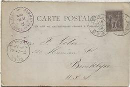 FRANCE EIFFEL TOWER POSTCARD 1892 PARIS POSTMARK AND SOMMET DE LA TOUR EIFFEL CACHET - Monumentos