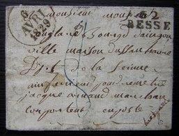 Besse En Chandesse 1829 (Puy De Dôme) Marque Noire 62/ BESSE Sur Jolie Petite Lettre Avec Taxe 8 En Bleu - Poststempel (Briefe)