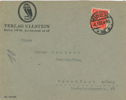 """Infla Lochung Perfin 1922 - Verlag Ullstein Berlin SW 68 Koch-Strasse - 3 Mark """"U."""" - Deutschland"""