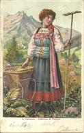 Fobello (Vercelli) Valsesia, Costume Di Fobello, Ragazza Con Gerla E Rastrello - Costumes