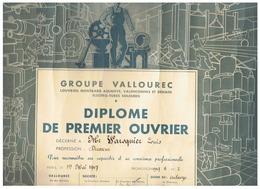 GROUPE VALLOUREC DIPLOME DE PREMIER OUVRIER à AULNOYE (NORD) 1947 - Diplome Und Schulzeugnisse