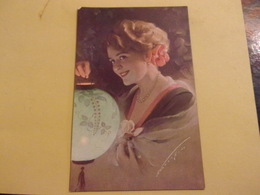 Tres Belle Carte Transparence Lettre Trefle Femme A La Lampe / LANTERNE - Illustrators & Photographers