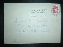 LETTRE TP SABINE 1,20 ROUGE OBL.MEC. VARIETE 6-6 1979 37 TOURS 01 INDRE ET LOIRE CONGRES DES ARCHITECTES TOURS 7.8.9. JU - Marcofilie (Brieven)