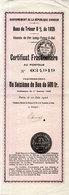 Bons Du Trésor 8% De 1925 - Gouvernement De La République Chinoise - Certificat Fractionnairte Au Porteur   (110770) - Asie