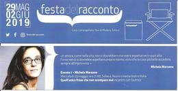 Segnalibro FESTA DEL RACCONTO 2019 CARPI - MICHELA MARZANO Quell'unica Frase Che Non Scompare Mai - Segnalibri
