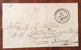 BIBBIENA D.c.  18 GIU 1845   SU LETTERA PER FIRENZE - 1. ...-1850 Prefilatelia