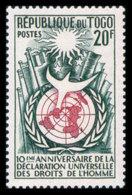 Togo, 1958, Human Rights Declaration, United Nations, MNH, Michel 246 - Togo (1960-...)