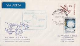 Polaire Argentin, 1° Vol Aller-retour Par Fokker Buenos-Aires (15 NOV 72) Port Stanley (15 NO 72) - Argentina