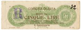 5 LIRE COMUNE DI BUIA GENNAIO 1918 BB - Altri