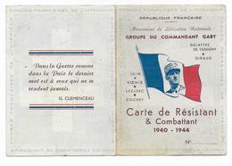 CARTE De RESISTANT Du GROUPE Du COMMANDANT GABY - FORCES FFI 1940/1944 - Oorlog 1939-45