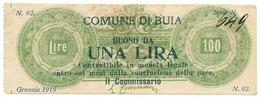 1 LIRA COMUNE DI BUIA GENNAIO 1918 BB - Altri