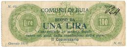 1 LIRA COMUNE DI BUIA GENNAIO 1918 MB+ - Altri